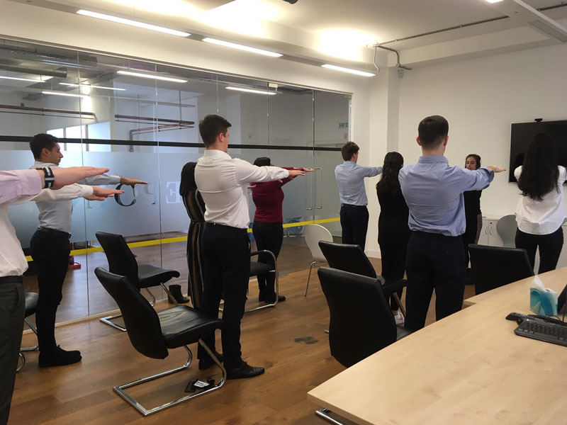 Office Yoga, Corporate Yoga, Desk and Chair Yoga, sukshma vyayam, rhomboid exercise, workplace yoga, yoga, yoga everywhere, wellness week, desk yoga, chair yoga, corporate health and wellbeing champion, yoga London