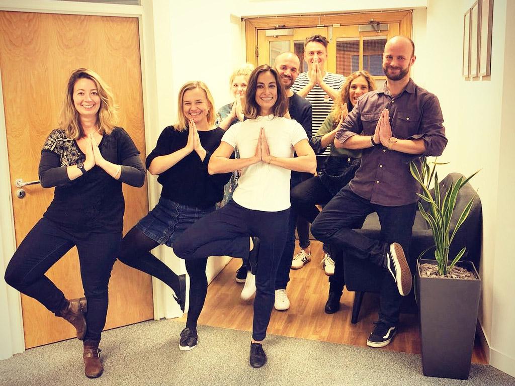 Vrksasana, Tree Pose, Desk and Chair yoga, workplace yoga, office yoga, yoga everywhere, wellness week, desk yoga, chair yoga, corporate health and wellbeing champion, yoga London