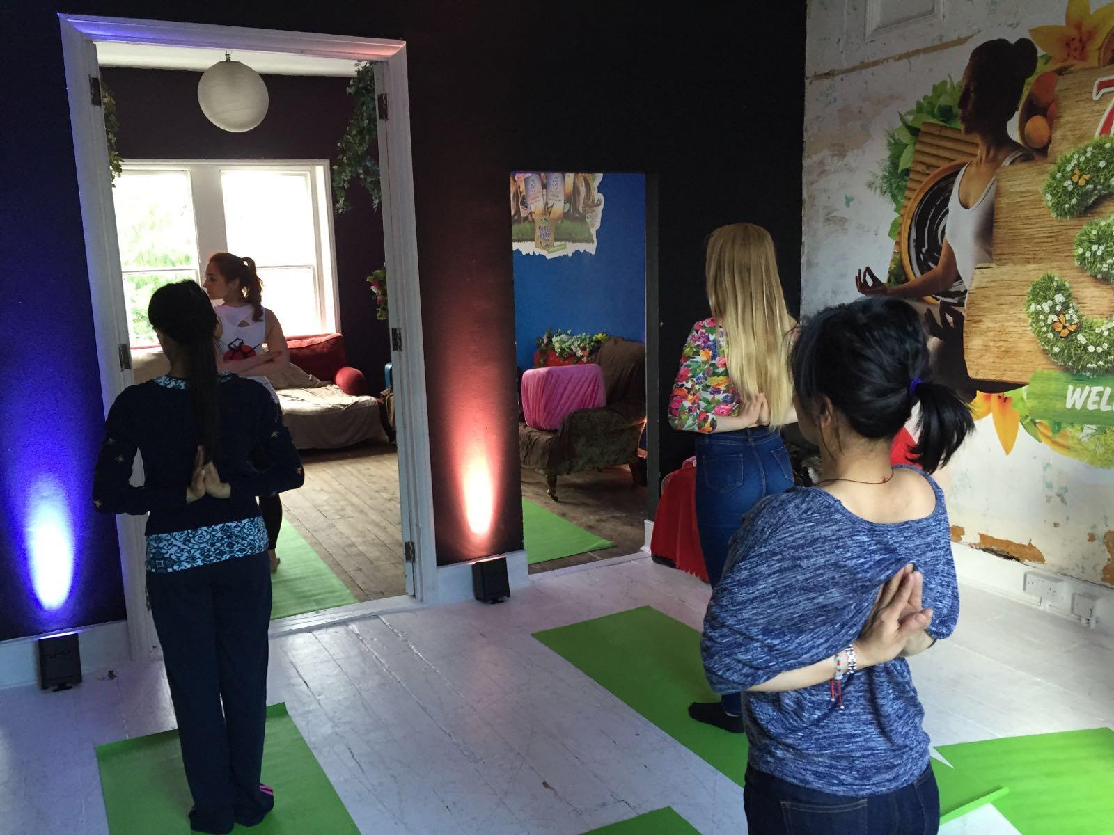 Reverse Namaste workplace yoga, office yoga, yoga everywhere, wellness week, desk yoga, chair yoga, corporate health and wellbeing champion, yoga London