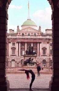 Office Yoga, Half-moon pose, Back bend