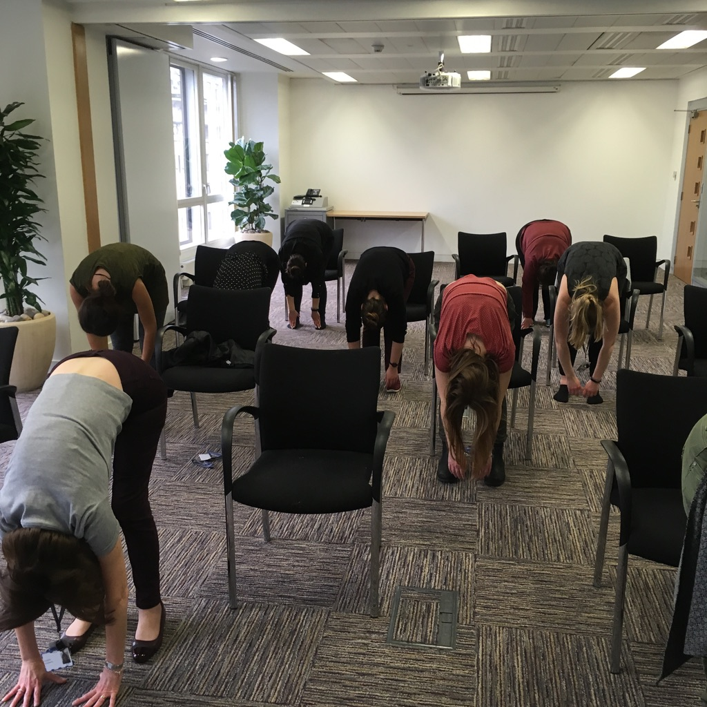 Desk and Chair Yoga Suksham Vyayam workplace yoga, office yoga, yoga everywhere, wellness week, desk yoga, chair yoga, corporate health and wellbeing champion, yoga London
