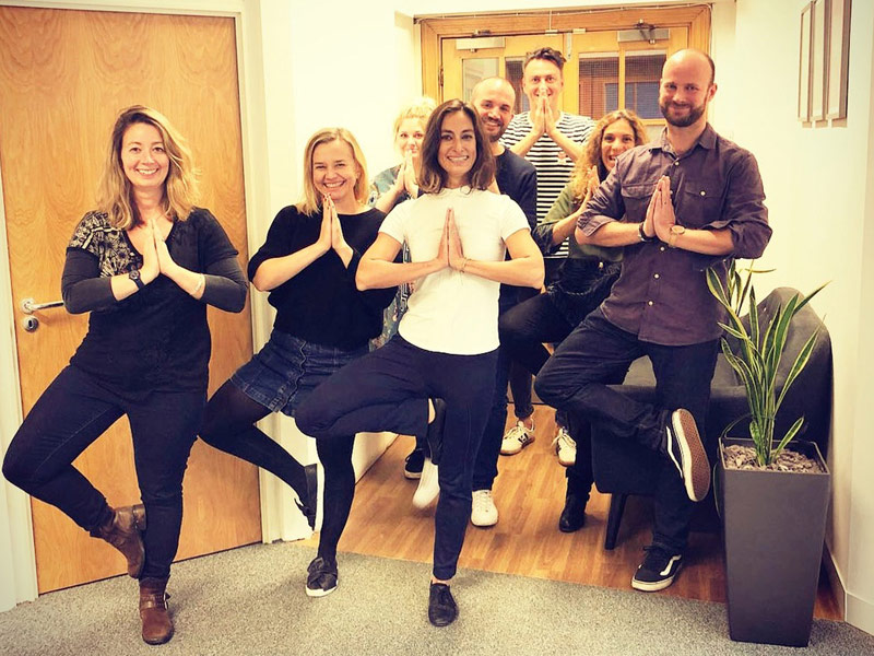 Corporate Yoga, Vrksasana, Tree Pose, Desk and Chair yoga, workplace yoga, office yoga, yoga everywhere, wellness week, desk yoga, chair yoga, corporate health and wellbeing champion, yoga London