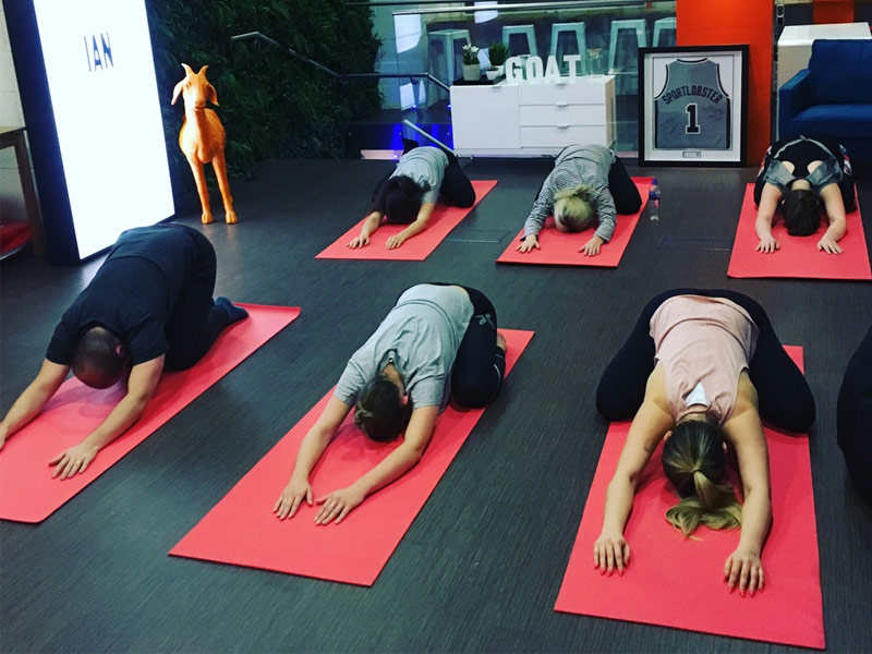 Corporate Yoga, Office Yoga, Traditional Yoga, Goat Agency, Old Street, Hoxton, workplace yoga, yoga, yoga everywhere, wellness week, desk yoga, chair yoga, corporate health and wellbeing champion, yoga London