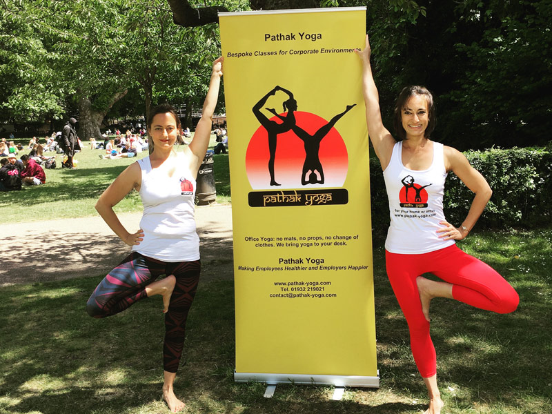 Corporate Yoga, In-office yoga, International Yoga Day 2017 Free Yoga Promo Lincoln's Inn Fields, tree pose, vrksasana, workplace yoga, office yoga, yoga everywhere, wellness week, desk yoga, chair yoga, corporate health and wellbeing champion, yoga London