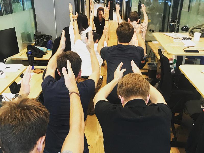 Office Yoga, Corporate Yoga, Turo, chair pose, utkatasana, workplace yoga, yoga, yoga everywhere, wellness week, desk yoga, chair yoga, corporate health and wellbeing champion, yoga London
